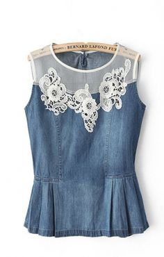 Love Love Love this Denim and Lace Floral Sleeveless Top! So Pretty!   #denim #white #lace #Sprng #Summer  #fashion