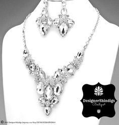 Rhinestone Silver and Clear Bridal Bib Necklace and Earrings Set by DESIGNERSHINDIGS on Etsy