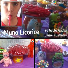 I made these Muno Licorice by using red cookie frosting as glue for the candy eyeballs. Yo Gabba Gabba was a part of Daisie's #TheseAreAFewOfMyFavoriteThings #Daisies2ndBirthdayParty