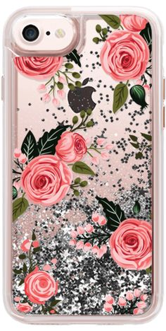Casetify iPhone 7 Liquid Glitter Case - Pink Floral Flowers and Roses Chic Feminine Transparent Case 008 by Frankie