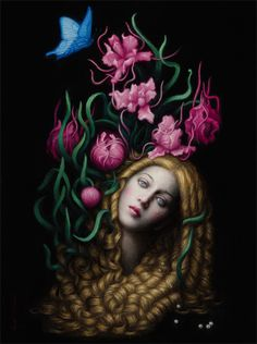 Blossom, Oil on Board by Chie Yoshii