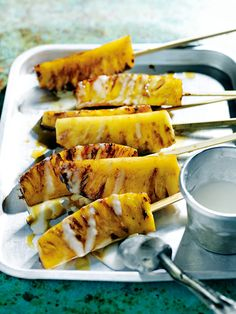 CARAMELISED PINEAPPLE SKEWERS- Donna Hay kitchen tools, homewares, books and baking mixes. Quick and easy dinner or decadent dessert - recipes for any occasion. Pineapple Recipes, Fruit Recipes, Appetizer Recipes, Dessert Recipes, Roasted Pineapple, Pineapple Rum, Vegetarian Skewers, Vegetarian Barbecue, Grilling Recipes