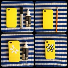Decorate your iPhone case. Make a lovely case out of an old one in a very simple way! You just need some paints and a marker.