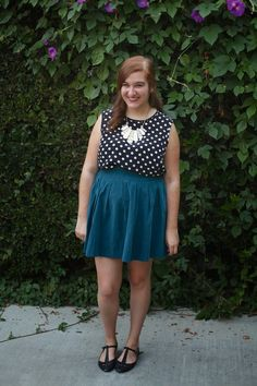 Thrifted navy polka dot top and teal skirt // Hello Cheeseburger white and gold statement necklace // Urban Outfitters black t-strap flats  www.room-334.blogspot.com
