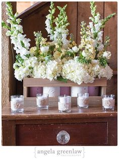 Rustic placecard table arrangement with painted mason jars - Designed by Golden Gate Studios