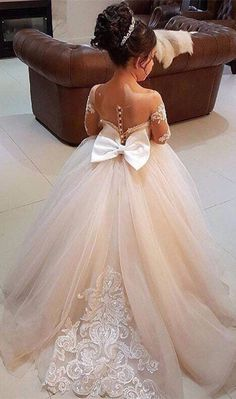 Bowknot Tulle Lace Flower Girl Dress On Sale From 27dress.com. #tulledress #flwoergirldress #2018girlspageantdress #lovelydress