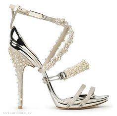 "Aluminum-soled ""Bollicine"" sandal with pearl - and quartz- encrusted silk straps, Gianluca Tamburini   IG: @asho_aday #AShoeADay"