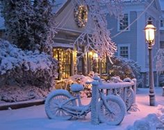 Snowy Night, Nantucket, Massachusetts photo via marta