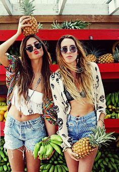 friends, cut offs, boho style, ombre hair, tropical, summer