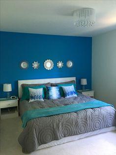 Blue bedroom for my tween daughter :) Blue Bedroom, Bedroom Decor, Wall Decor, Home Wall Painting, Blue Paint Colors, Sofa, House, Tween, Hibiscus