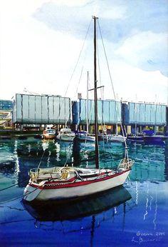Acquario, Genova, 2014, acquerello, Italia, Luba Boccardi