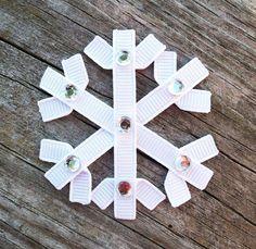 Snowflake Ribbon Sculpture Hair Clip - Toddler Hair Clips - Baby Hair Bows - Girls Hair Accessories.. Free Shipping Promo. $3.75, via Etsy.
