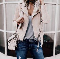 Grey tee stone suede jacket