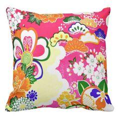 80's Pink Lotus Throw Pillows