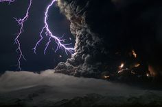Mother nature-->Intense lightning storms mixed with ash clouds to electrify the night sky over Iceland's Eyjafjallajökull volcano in April.