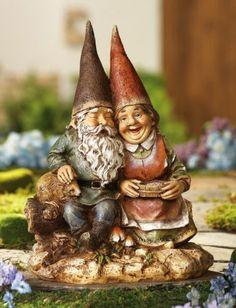 Gnome Couple Garden Statue Antique Finish Sweet Romantic Love | eBay
