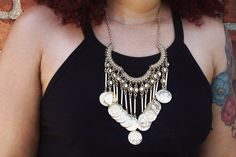 EOS Antiqued Gold Coin Fringe Statement Necklace w/ by LostQueens, $30.00