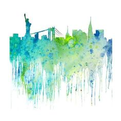 Watercolor Art Painting New York Cityscape, Watercolor Art Print,... ❤ liked on Polyvore featuring home, home decor, wall art, backgrounds, detail, embellishment, splash, giclee painting, new york cityscape wall art and new york home decor