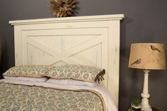 With its country-casual style, this headboard can blend into a variety of decorating styles. It's sized to work with a Queen-size mattress, and can easily… Wood Bedroom, Bedroom Ideas, Master Bedroom, Wood Headboard, Headboard Designs, Bedroom Designs, Diy Bed, Headboards For Beds, Bed Design