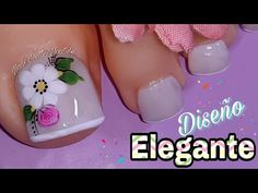 Toe Nail Flower Designs, Pedicure Designs, Pedicure Nail Art, Mani Pedi, Manicure, Cute Toe Nails, Cute Toes, New Nail Art Design, Nail Art Designs