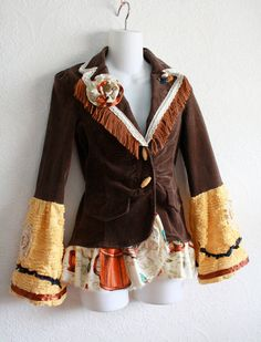 Bohemian Jacket Women's Upcycled Blazer Brown Gold Fringe Bell Sleeves Shabby Chic