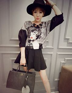 High Quality Vintage Women Printed Top with Short Skirt Set Wear