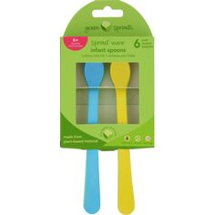 Green Sprouts Infant Spoons - Sprout Ware - 6 Months Plus - Aqua Assorted - 6 Pack