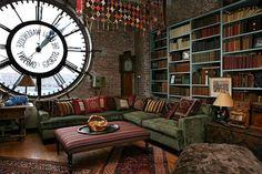 the giant clock/window in architect Michael Davis's loft apartment in Brooklyn, NY