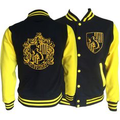Vintage style Harry potter Inspired Hufflepuff House varsity jacket... ($43) ❤ liked on Polyvore featuring outerwear, jackets, collar jacket, teddy jacket, varsity bomber jacket, pocket jacket and varsity style jacket