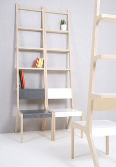 I love this! We need space savers! Chairs and bookshelves? Deal! DAS Design! chair = ladder by Seung-Yong Song