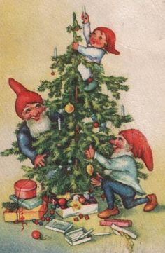 gnomes decorating the Christmas tree I thought my family would enjoy seeing who decorates the trees in Sweden. They are like little elves that live in the barns through the year. Swedish granny Joan. To all my Swedish family, (Aspegren's)