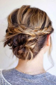 50 Easy + Chic Summer Hairstyles For Right Now -  Woven plaited bun