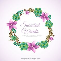 Floral wreath ornament with cactus Free Vector