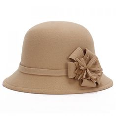 $4.67 Chic Flower Shape Embellished Bright Color Felt Cloche Hat For Women