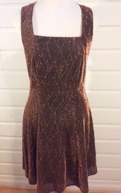 Molly Malloy Evening Cocktail Dress Copper Brown METALLIC Cris-Cros Strap Sz 8 #MollyMalloyEvening #ClubwearcocktailEvening