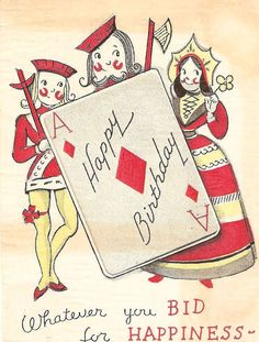Playing Cards King Queen Vintage Birthday Card