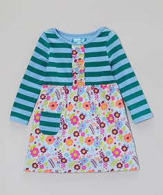 This Confetti Kisses Blue & Deep Jungle Stripe Ruffle Dress - Toddler & Girls by Confetti Kisses is perfect! #zulilyfinds