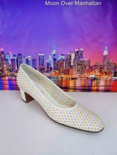Womens shoes DELISO DEBS vtg white pastel leather Mad Men 50's 60's pumps 8.5 4A #DeLISODebs #Heels
