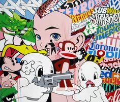 Enjoy Our Tasty Treats - acrylic and aerosol on canvas 2010. Ben Frost