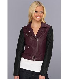 Two tone leather jacket.  French Connection Athena Color Block
