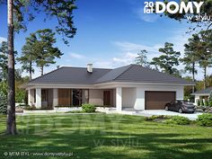 Projekt Aksamit zwraca uwagę elegancką i wyważoną bryłą. Dodatkowo posiada reprezentacyjny charakter przy jednoczesnym zachowaniu optymalnej powierzchni użytkowej, na której z powodzeniem może zamieszkać 4-osobowa rodzina. Mocną stroną projektu Aksamit jest ciekawe i bardzo praktyczne rozmieszczenie pomieszczeń. Dom posiada wiele elementów poszukiwanych przez inwestorów, którzy chcą zbudować dom za miastem: 2-stanowiskowy garaż, kotłownia na paliwo stałe z wejściem od strony garażu oraz… Small House Design, Modern House Design, Exterior House Colors, Exterior Design, Outside House Paint, House Plans Mansion, Kerala Houses, Architect House, Modern House Plans