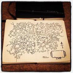 billiambabble:    Map. Random. A6 Moleskine graph notebook.
