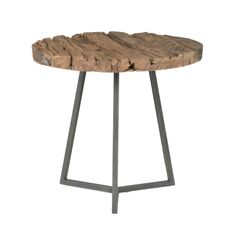 Gray Manor Lennox Distressed/Weathered Reclaimed Wood/ Round End Table
