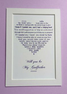 Will you be my Godfather Godparent gift by UniqueWordsJersey