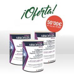 ¡Ahora llévate 3 botes de arkoflex colágeno pagando sólo 2!  Arkoflex Colágeno contiene Vitamina C, que contribuye a la formación normal de colágeno para el adecuado funcionamiento de los huesos, de los cartílagos y de la piel. #Farmacias #Farmacias1000 #FarmaciasMil #Arkoflex #Oferta #descuento