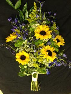 Blue, sunflowers wedding