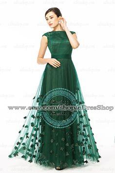 Modest Forest Green Prom Dress 2014 Long Cap Sleeves by eDresShop