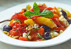Roasted-Pepper-Salad-with-Feta-Pine-Nuts-and-Basil SWANK NOTE:  Use fat free feta cheese.