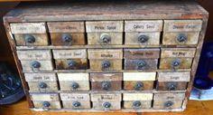 Found on EstateSales.NET: 20 Drawer Spice Cabinet - All Original