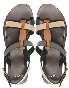 ASOS FIGARO Leather Flat Sandals With Colour Block